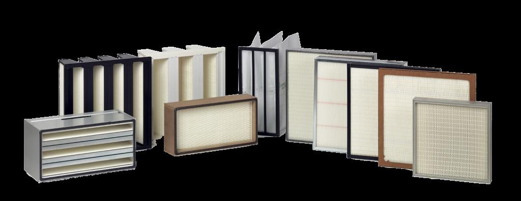 En række eksempler på et HEPA filter